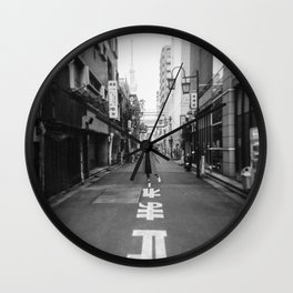 Walking the Streets of Tokyo - Black and White Film Photograph Wall Clock