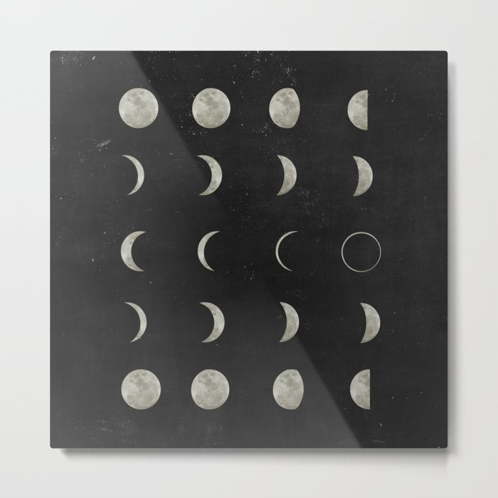 Moon Phases, Black White Decor, Bohemian, Magic, Lunar Cycle Metal Print