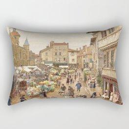 The Flower Market, Paris, France by Firmin Girard Rectangular Pillow
