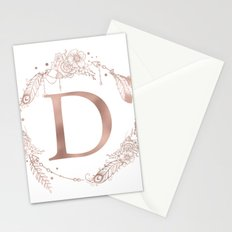 Letter D Rose Gold Pink Initial Monogram Stationery Cards