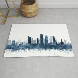 Boston City Skyline Blue Watercolor by zouzounioart Rug