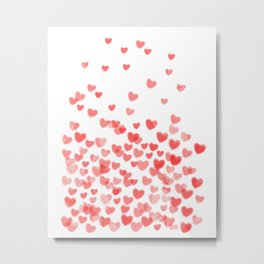 Hearts - Valentines Glitter Hearts in pink on white background for trendy girls valentines day Metal Print