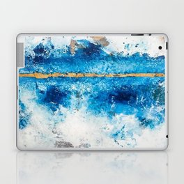 Blue Skies: a pretty, minimal abstract mixed-media piece in blue, white and gold Laptop & iPad Skin