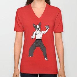 Kungfu Bulldog Lee Unisex V-Neck
