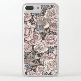 Flowers & Swallows Clear iPhone Case