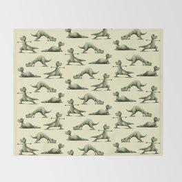 Yogasaurs (Yellow) Throw Blanket
