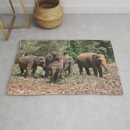Sri Lanka Elephants in Jungle Landscape Rug