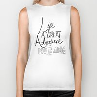 adventure Biker Tanks featuring Great Adventure by Leah Flores