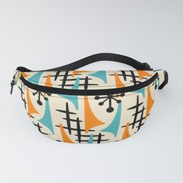 Mid Century Modern Atomic Wing Composition Orange & Blue Fanny Pack