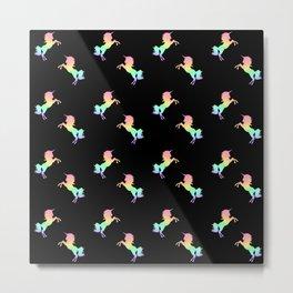 Rainbow Unicorn Pattern on Black Metal Print