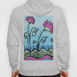 Three Spring Flowers - Blue Hoody