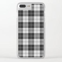 Clan Erskine Tartan // Black & White Clear iPhone Case