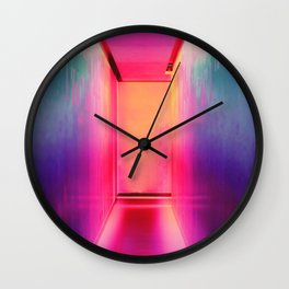 Neon Hallways Wall Clock