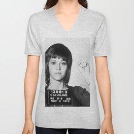 Jane Fonda Mug Shot Vertical Unisex V-Neck