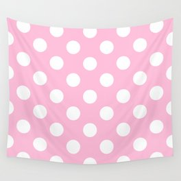 Cotton candy - pink - White Polka Dots - Pois Pattern Wall Tapestry