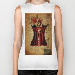 elegant girly lily flower newspaper print  black red corset Biker Tank