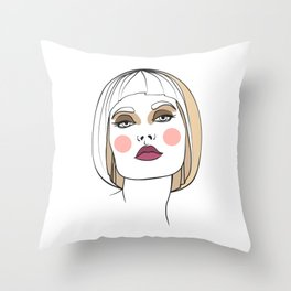Blonde woman with makeup. Abstract face. Fashion illustration Throw Pillow