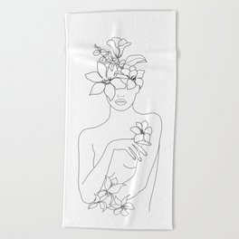Minimal Line Art Woman with Flowers IV Beach Towel