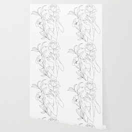 Minimal Line Art Woman with Peonies Wallpaper