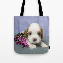Puppy with flowers Tote Bag