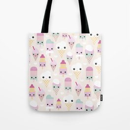 Cute kawaii summer Japanese ice cream cones and popsicle p Tote Bag
