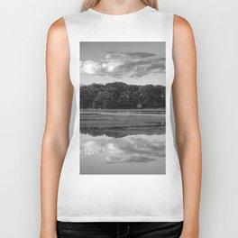 Annisquam river reflections Black and White Biker Tank