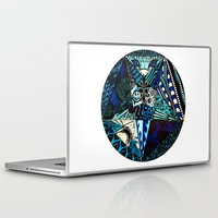 pentagram Laptop & iPad Skins featuring Blue Toned Pentagram by Nix Hunt
