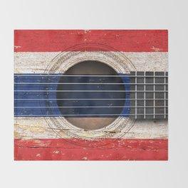 Old Vintage Acoustic Guitar with Thai Flag Throw Blanket