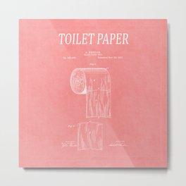 Toilet Paper Patent 3 Metal Print