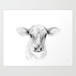 Moo ::  A Young Jersey Cow Art Print