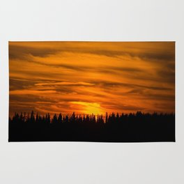 Cloudy Sunset With Forest Line - Scenic Landscape - #society6 #decor #buyart Rug