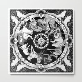 Chinese Astrological Zodiac Wheel - East facing Metal Print