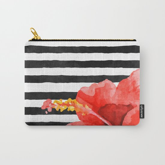 Tropical flower on stripes Carry-All Pouch