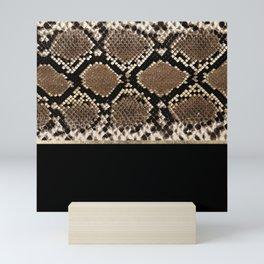 Modern black brown gold snake skin animal print Mini Art Print