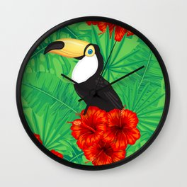 Tropical pattern with toucan and  tropical leaves Wall Clock