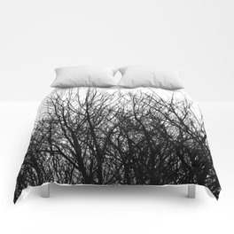 Black white modern abstract tree branch pattern Comforters