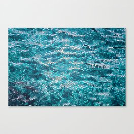 Blue and White Water Mosaic pattern Canvas Print