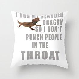 I Hug My Bearded Dragon Funny Pet Lizard  Throw Pillow
