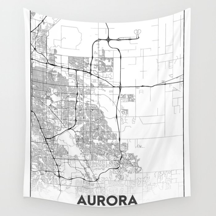 Minimal City Maps - Map Of Aurora, Colorado, United States Wall Tapestry by  valsymot