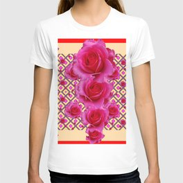 Red & Cream Fuchsia Roses Pattern T-shirt