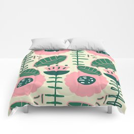 Modern flowers and leaves Comforters