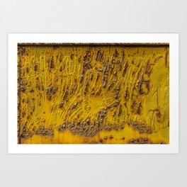 Blistering Yellow Rusty Box Car Texture Art Print