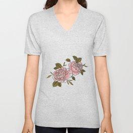 Pink Roses Watercolor Unisex V-Neck