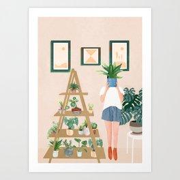 Wooden floors, walls and window sills Art Print