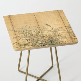 Japanese Edo Period Six-Panel Gold Leaf Screen - Spring and Autumn Flowers Side Table