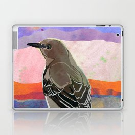 Mockingbird on a Wire Fence In The Sunset Watercolor Art Laptop & iPad Skin