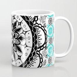 Teal and Black Mandala Pattern Coffee Mug