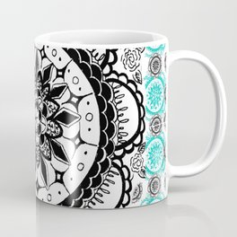 Teal and Black Mandala Pattern Coffee Mug