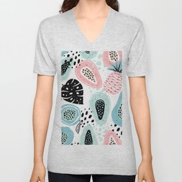 Tropical Fruits Pattern Unisex V-Neck