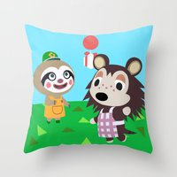 animal crossing Throw Pillows featuring Animal Crossing by Alex Owen